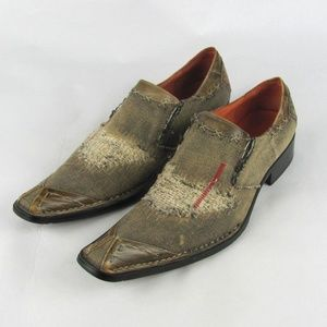 ROBERT WAYNE Implode Distressed Shoes Loafers 10
